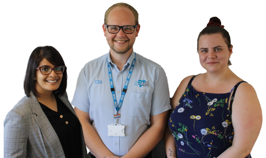to introduce the personal wheelchair budget team - Monica Sampla, Joseph-Michael Woolmer and Heather Campbell